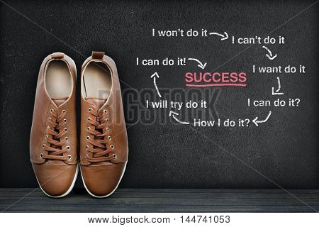 Success text on black board and shoes
