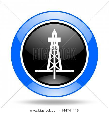 drilling round glossy blue and black web icon