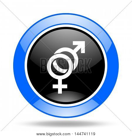 sex round glossy blue and black web icon