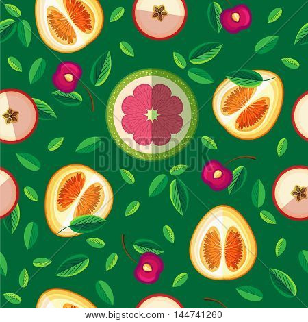 Vector seamless pattern of leaves and slices of fruit. You can apply a background webpage posters menus leaflets banners print on bags and wrapping paper.