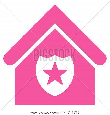 Realty Protection icon. Glyph style is flat iconic symbol, pink color, white background.
