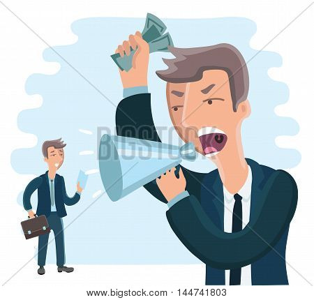 Vector illustration big boss commanding officer into a megaphone. small employee afraid of him.