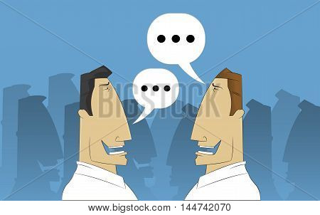 Two cartoon businessmen discussing in crowd. Vector