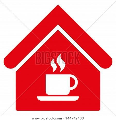 Cafe House icon. Glyph style is flat iconic symbol, red color, white background.