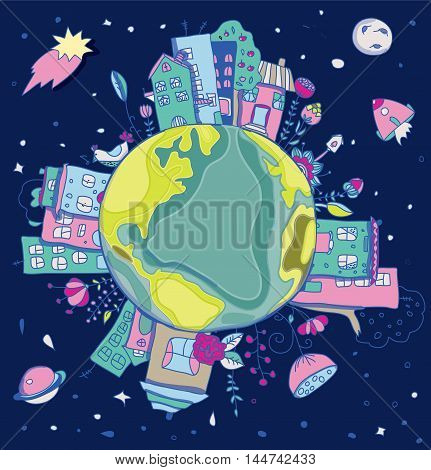 colorful picture of the planet with houses and plants in space with a missile