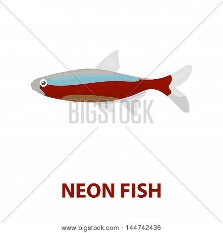 Neon fish icon cartoon. Singe aquarium fish icon from the sea, ocean life cartoon.