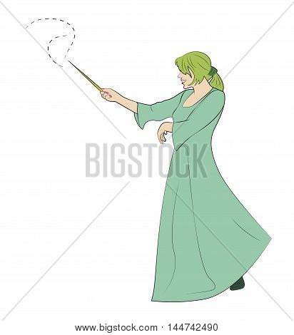 The girl with a magic wand creates magic. Vector illustration