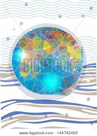 colorful picture of the planet with abstract stripes and stars on white background