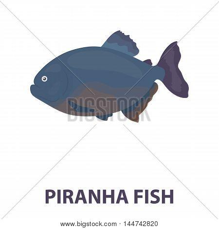 Piranha fish icon cartoon. Singe aquarium fish icon from the sea, ocean life cartoon.
