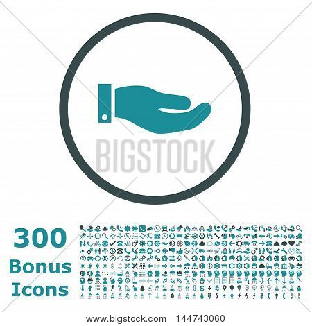 Hand rounded icon with 300 bonus icons. Vector illustration style is flat iconic bicolor symbols, soft blue colors, white background.