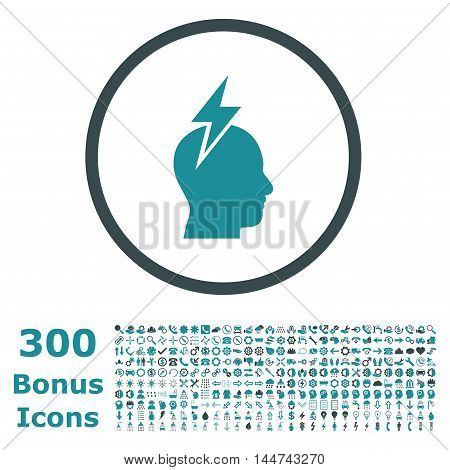 Headache rounded icon with 300 bonus icons. Vector illustration style is flat iconic bicolor symbols, soft blue colors, white background.