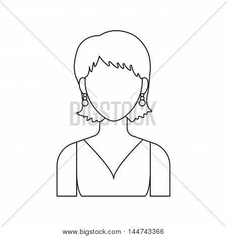 Girl with earrings icon line. Single avatar, peopleicon from the big avatar line.