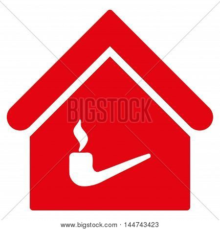 Smoking Room icon. Glyph style is flat iconic symbol, red color, white background.