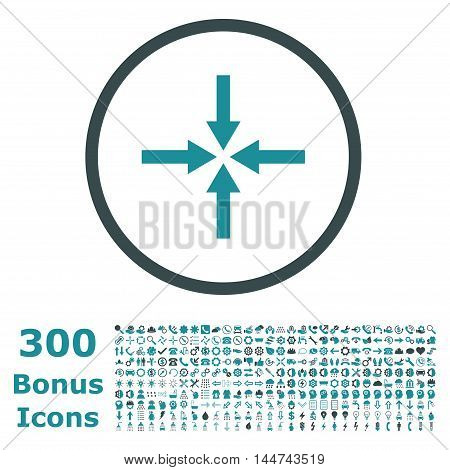 Impact Arrows rounded icon with 300 bonus icons. Vector illustration style is flat iconic bicolor symbols, soft blue colors, white background.