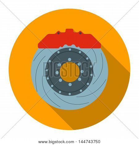 Brake shoe icon flat style. Single silhouette auto parts icon from the big car flat - stock vector