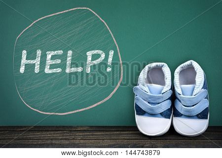 Help text on school table and kid shoes
