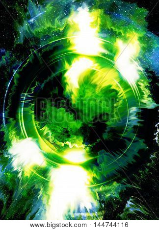 silhouette music speaker and Space with stars. abstract color background. Music concept