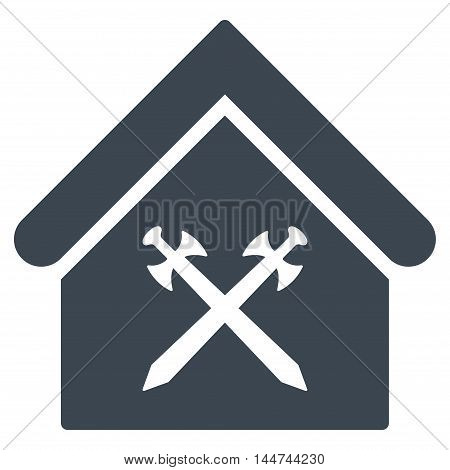 Guard Office icon. Glyph style is flat iconic symbol, smooth blue color, white background.