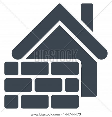 Realty Brick Wall icon. Glyph style is flat iconic symbol, smooth blue color, white background.