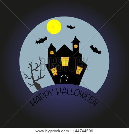 Witch house and bats in the moonlight