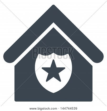 Realty Protection icon. Glyph style is flat iconic symbol, smooth blue color, white background.