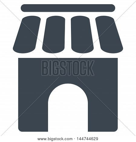 Shop Building icon. Glyph style is flat iconic symbol, smooth blue color, white background.