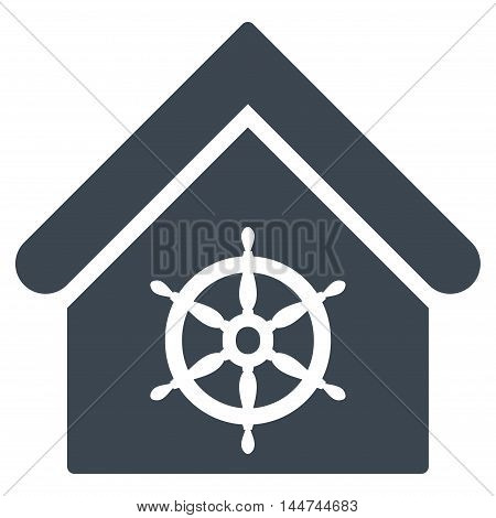 Steering Wheel House icon. Glyph style is flat iconic symbol, smooth blue color, white background.