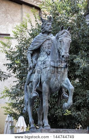 CUENCA SPAIN - August 24 2016:  Sculpture of King Alfonso VIII in the Old Town of the city work of the artist of Cuenca Javier Barrios Cuenca Spain