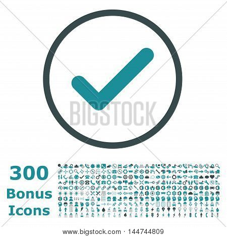 Ok rounded icon with 300 bonus icons. Vector illustration style is flat iconic bicolor symbols, soft blue colors, white background.