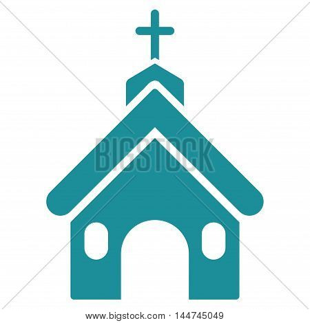 Church icon. Glyph style is flat iconic symbol, soft blue color, white background.