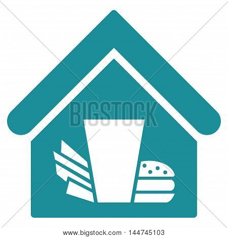 Fastfood Cafe icon. Glyph style is flat iconic symbol, soft blue color, white background.