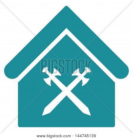 Guard Office icon. Glyph style is flat iconic symbol, soft blue color, white background.