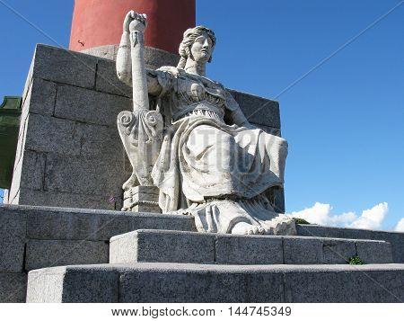 Fragment of the Rostral column on Vasilyevsky island. Saint Petersburg, Russia.