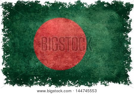 National flag of Bangladesh with distressed vintage textures and edges