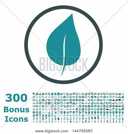 Plant Leaf rounded icon with 300 bonus icons. Vector illustration style is flat iconic bicolor symbols, soft blue colors, white background.