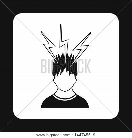 Man and lightnings near head icon in simple style isolated on white background