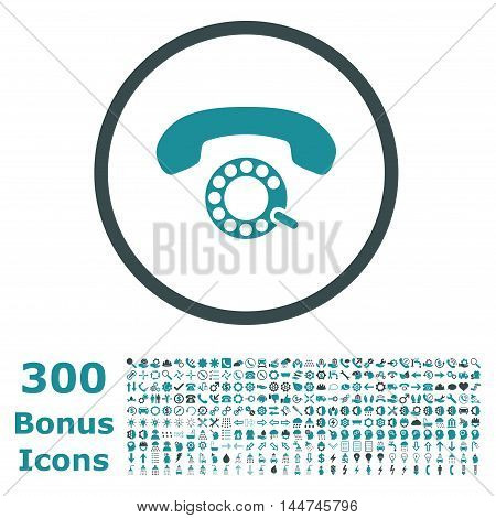 Pulse Dialing rounded icon with 300 bonus icons. Vector illustration style is flat iconic bicolor symbols, soft blue colors, white background.