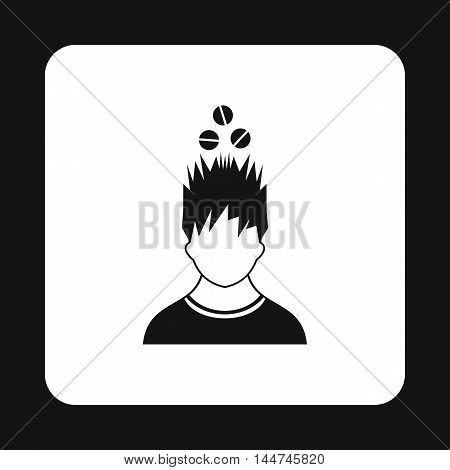 Man with tablets over his head icon in simple style isolated on white background