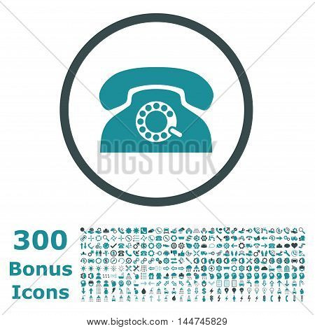 Pulse Phone rounded icon with 300 bonus icons. Vector illustration style is flat iconic bicolor symbols, soft blue colors, white background.