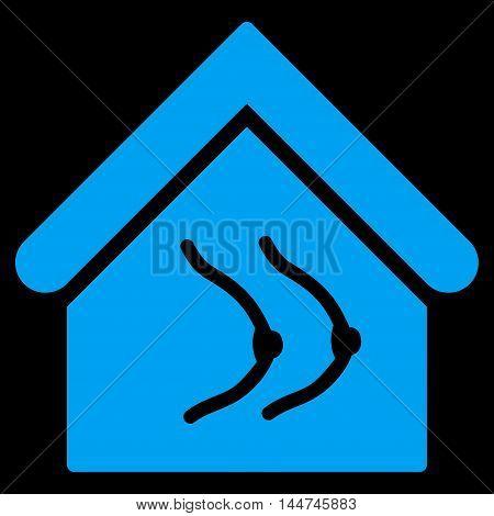 Erotics House icon. Glyph style is flat iconic symbol, blue color, black background.