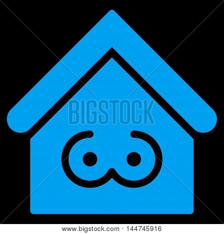 Strip Bar icon. Glyph style is flat iconic symbol, blue color, black background.