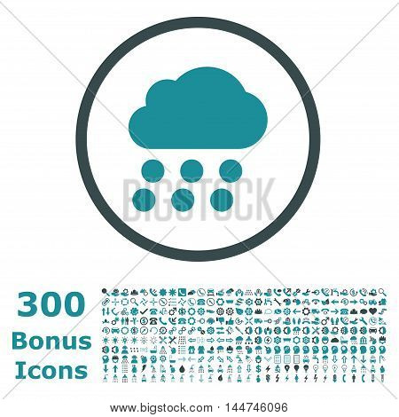 Rain Cloud rounded icon with 300 bonus icons. Vector illustration style is flat iconic bicolor symbols, soft blue colors, white background.