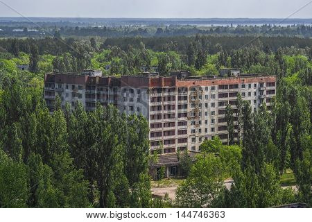 A View Of An Abandoned Building In The City Of Pripyat In The Chernobyl Exclusion Zone.