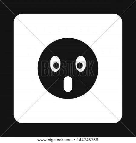 Frightened emoticon with open mouth icon in simple style on a white background