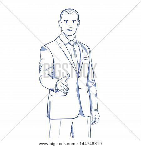 businessman handshake gesturing business partner business offer