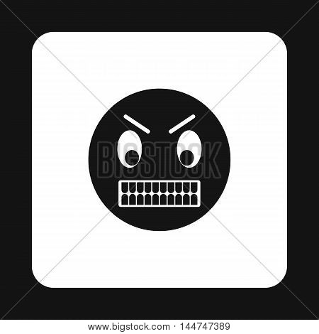 Emoticon in anger icon in simple style isolated on white background