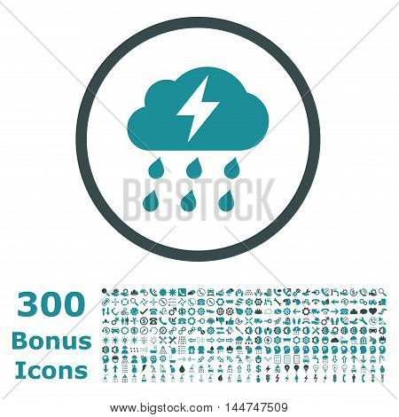 Thunderstorm rounded icon with 300 bonus icons. Vector illustration style is flat iconic bicolor symbols, soft blue colors, white background.