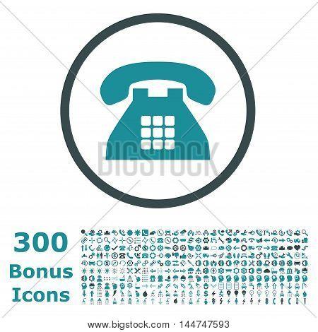 Tone Phone rounded icon with 300 bonus icons. Vector illustration style is flat iconic bicolor symbols, soft blue colors, white background.