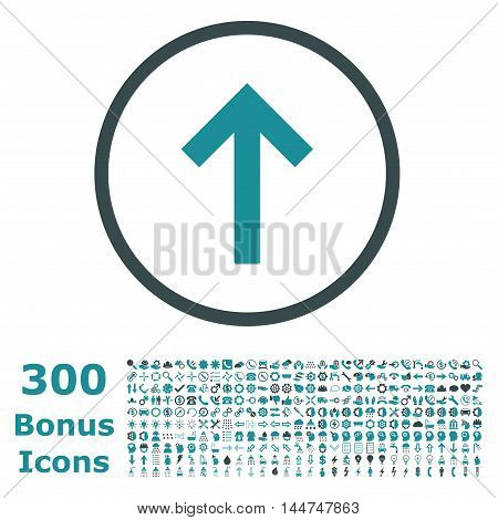Up Arrow rounded icon with 300 bonus icons. Vector illustration style is flat iconic bicolor symbols, soft blue colors, white background.
