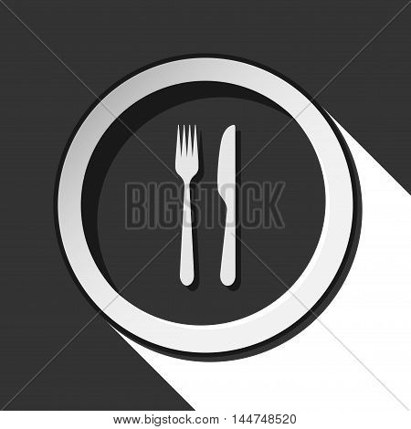 black icon - cutlery fork and knife with white stylized shadow